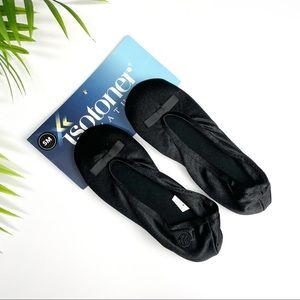 NEW ISOTONER Black Satin Ballerina Slipper 5-6